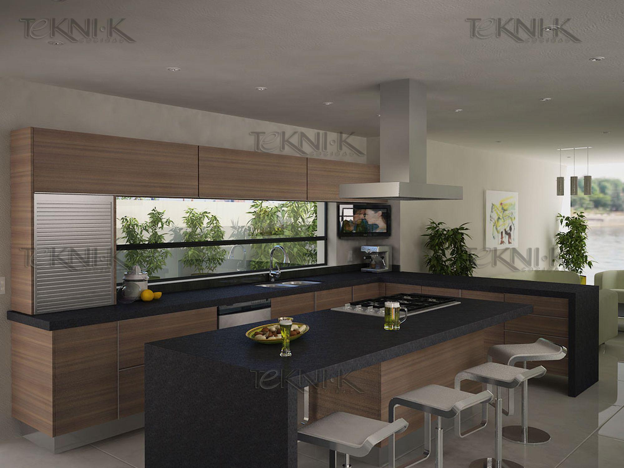 Gabinetes con textura de maderas claras contrastando con for Cocinas pequenas modernas 2016