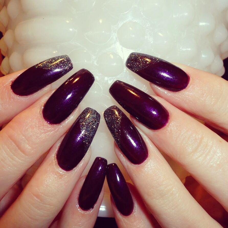 Long acrylic nails. Long gel nails. Plum paisley shellac. Great fall ...