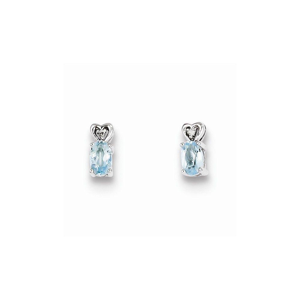 Sterling Silver Aquamarine & Diamond Earrings