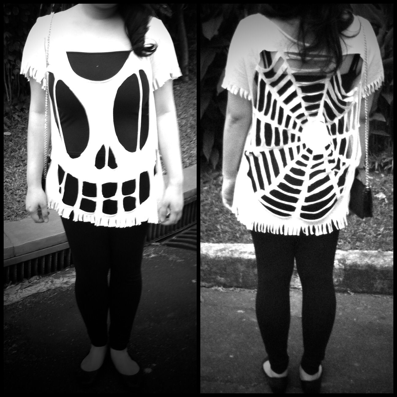 Look for less. DIY Halloween Costume. White shirt cut into a skeleton and spiderweb shirt. #coupleshalloweencostumeideas