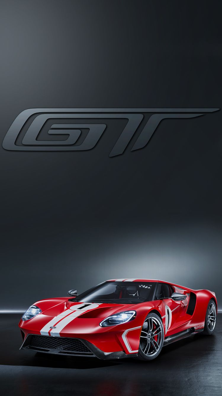 Universal Phone Wallpapers Backgrounds Red Ford GT Super Car Iphone