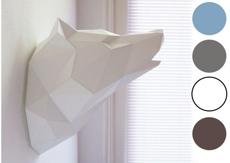 troph e loup origami plusieurs coloris 29 les esth tes d co sol mur pinterest. Black Bedroom Furniture Sets. Home Design Ideas