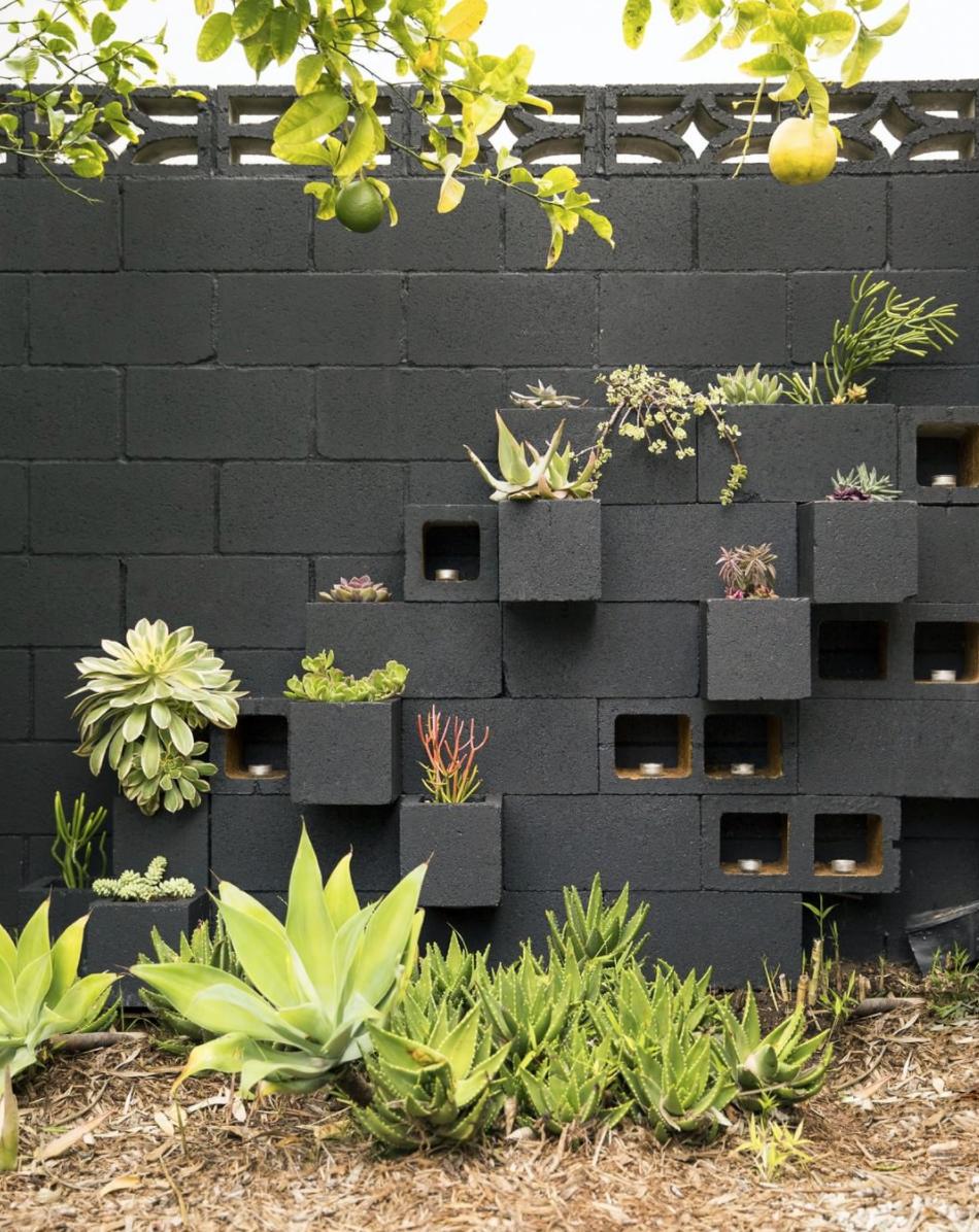 Mid Century Modern Style Modern Contemporary Cinder Concrete Block Wall Painted Dark Gray With Inset Planter Boxes Cinder Block Garden Garden Wall Backyard