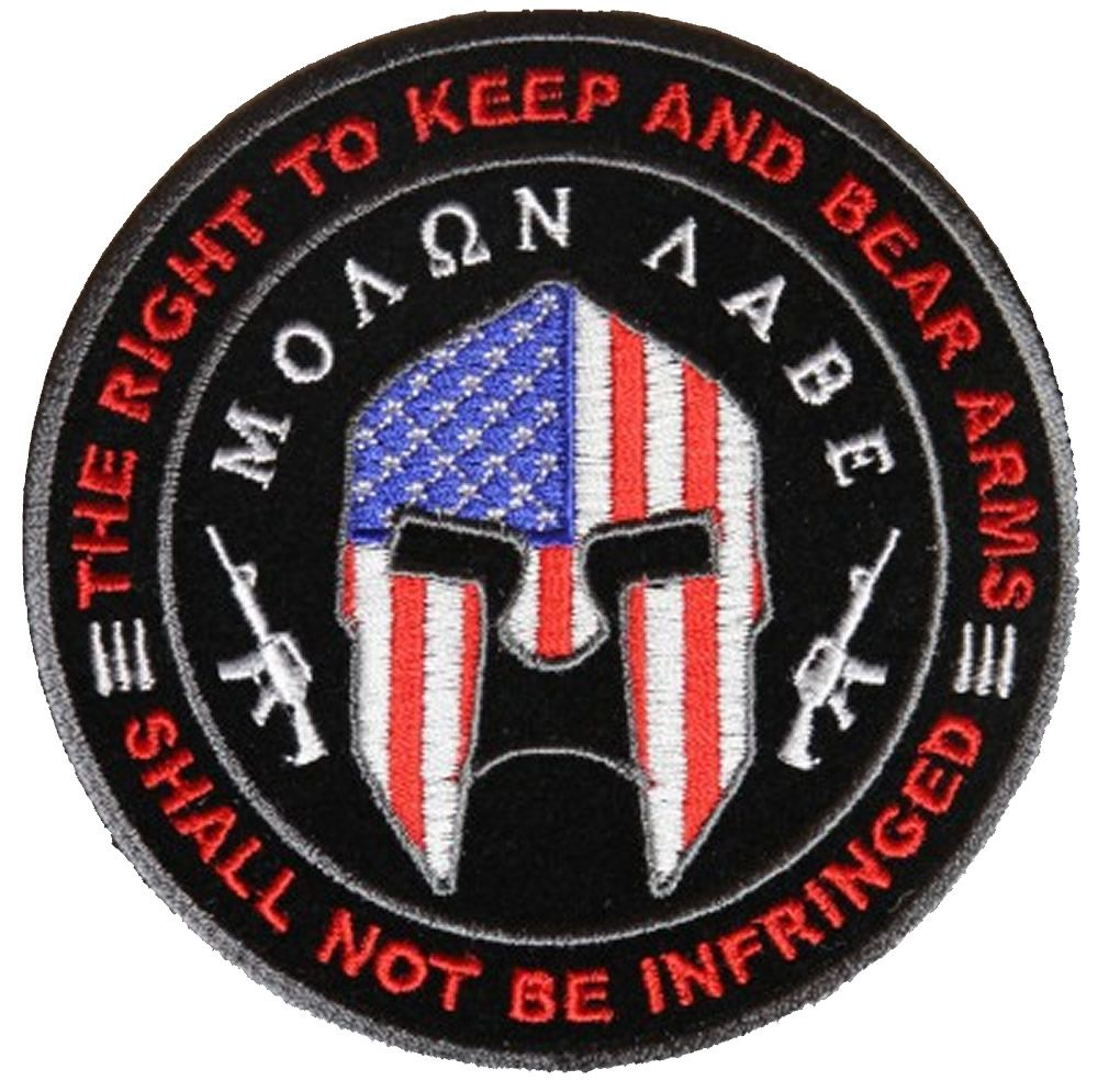 MOLON LABE THE RIGHT TO KEEP AND BEAR ARMS SPARTAN ROUND PATCH MOLON LABE  THE RIGHT TO KEEP AND BEAR ARMS SPARTAN ROUND PATCH  4916CP  -  10.00   Hat  n ... a370f2d1f03