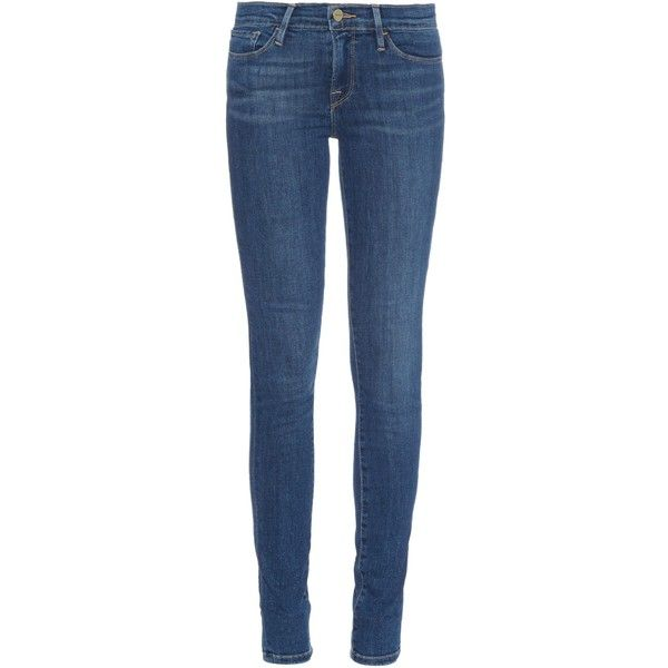 Frame Denim Le Skinny de Jeanne mid-rise skinny jeans (1.095 BRL) ❤ liked on Polyvore featuring jeans, denim, frayed jeans, skinny leg jeans, denim skinny jeans, blue jeans и medium rise jeans