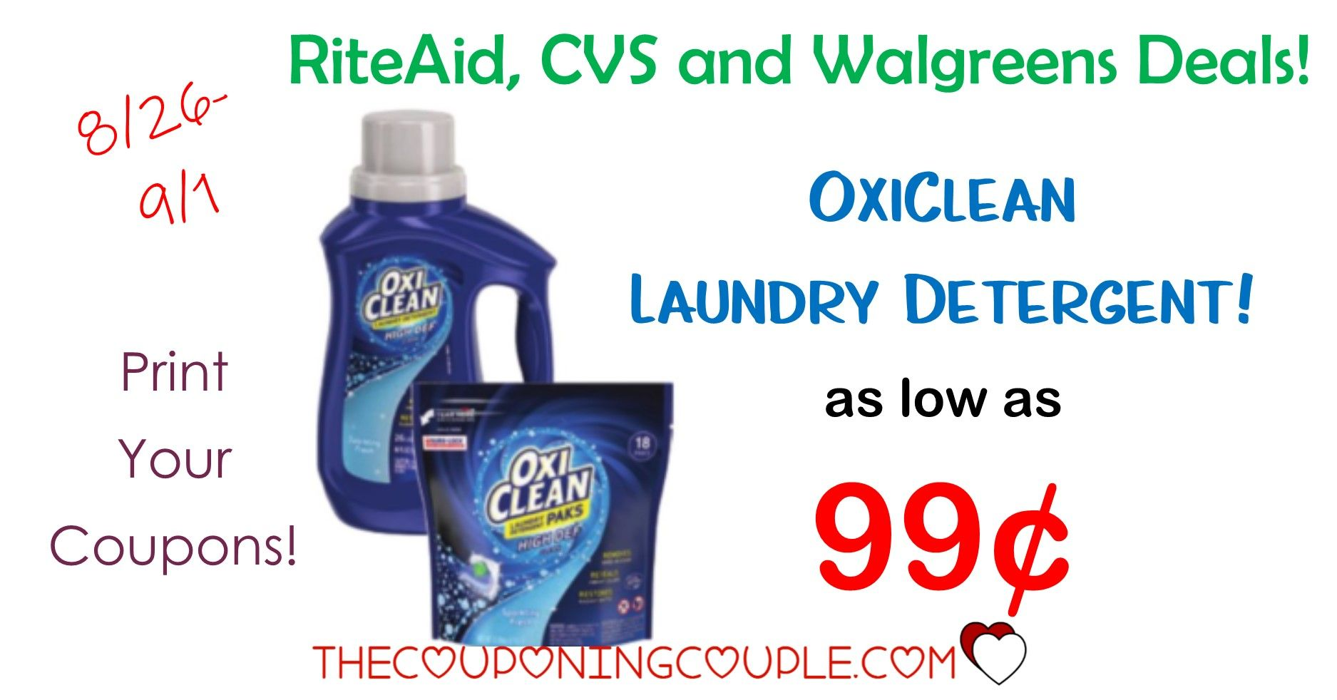 Oxiclean As Low As 0 99 Walgreens Cvs And Rite Aid Rite Aid