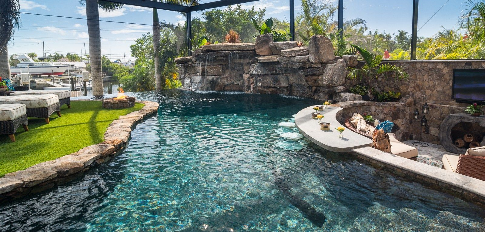 A Lazy River Runs Through It Custom Pool On Pine Island Lazy River Pool Insane Pools Swimming Pools Backyard
