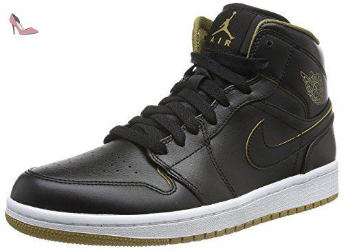 la moitié 7f001 36ad2 Nike Air Jordan 1 Mid, Baskets Basses Homme, Noir-Schwarz ...
