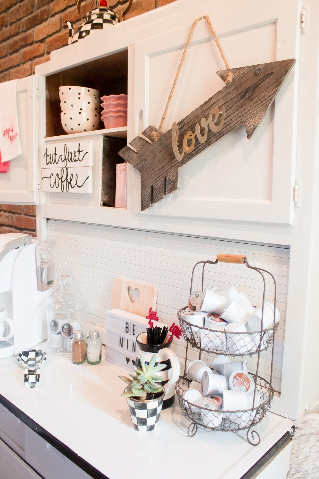 Styling your coffee bar and breakfast nook for Valentines Day and ...