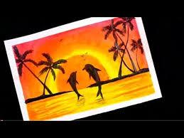 رسم منظر طبيعي لضوء القمر و غروب الشمس سهل للمبتدئين خطوة بخطوة Oil Pastel Paintings Youtube Painting Art