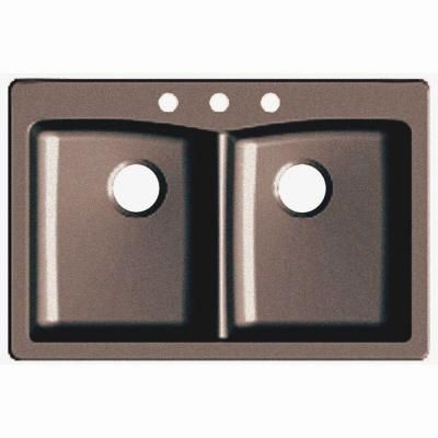 Dual Mount Granite Composite 33 in. 3-Hole Double Basin Kitchen ...