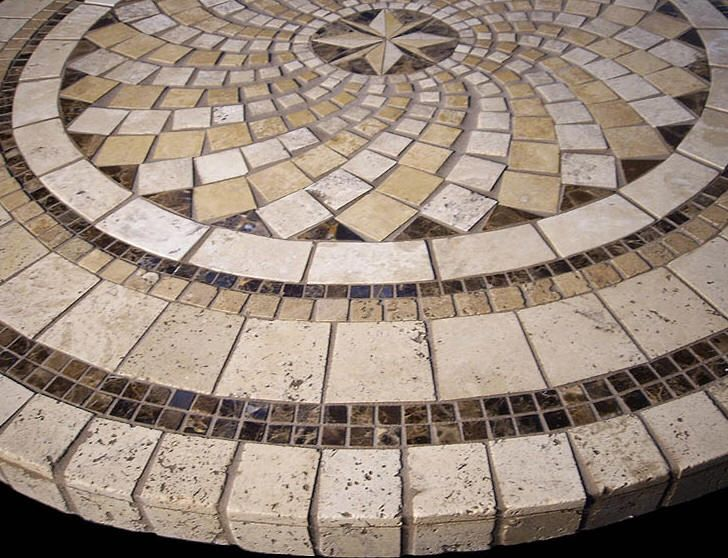 Elegant North Star Mosaic Stone Tile Table Top
