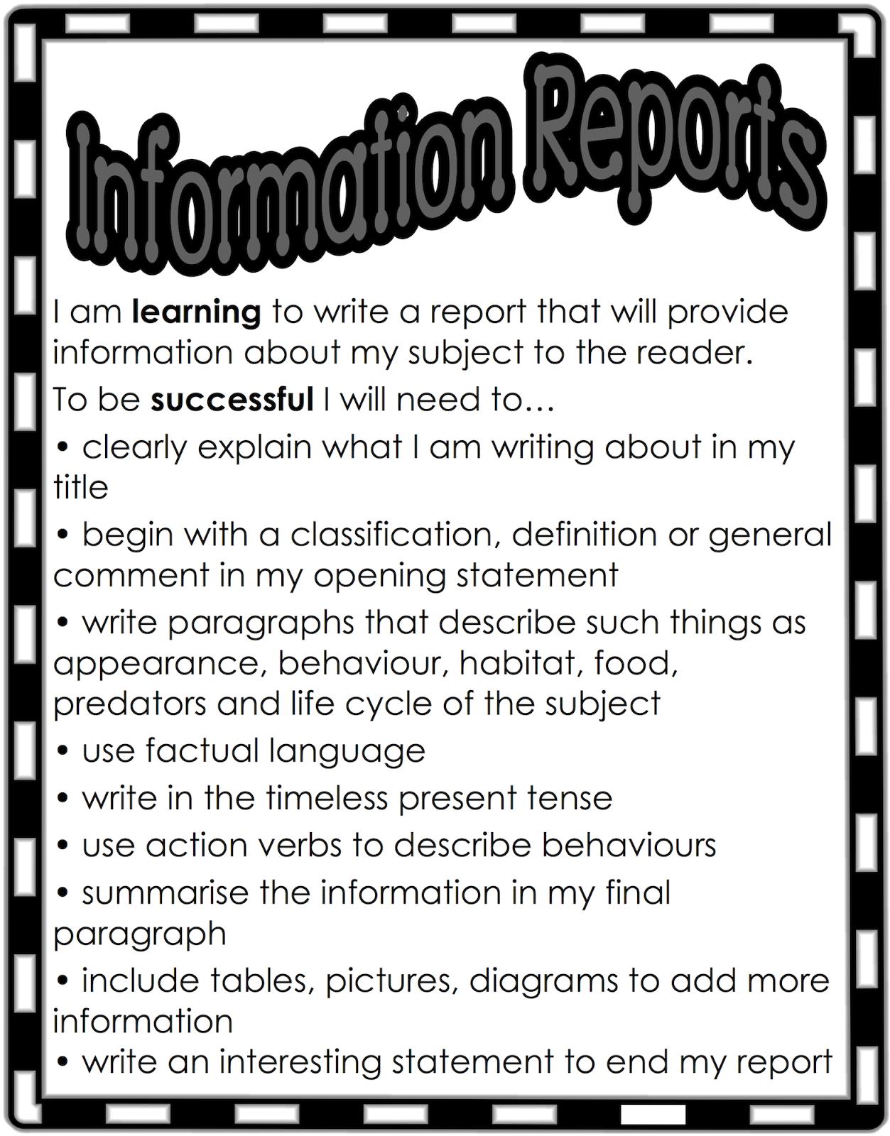 Classroom Treasures Report Writing Report Writing Writing Anchor Charts Writing Checklist