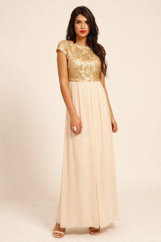 deda75647d Little Mistress Gold   Cream Heavily Embellished Cap Sleeve Maxi Dress  Bridesmaids.  140.