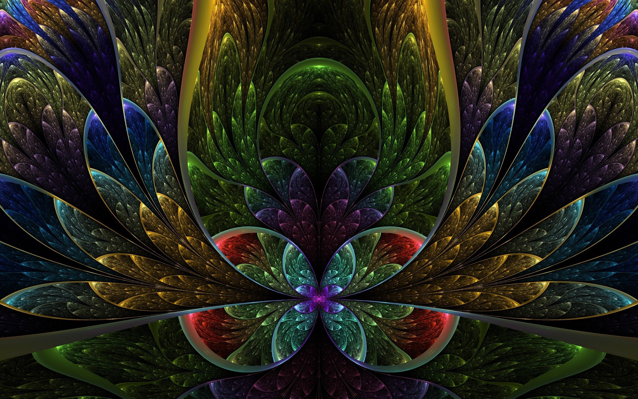Abstract multicolor fractals artwork symmetry (2560x1600, multicolor, fractals, artwork, symmetry)  via www.allwallpaper.in