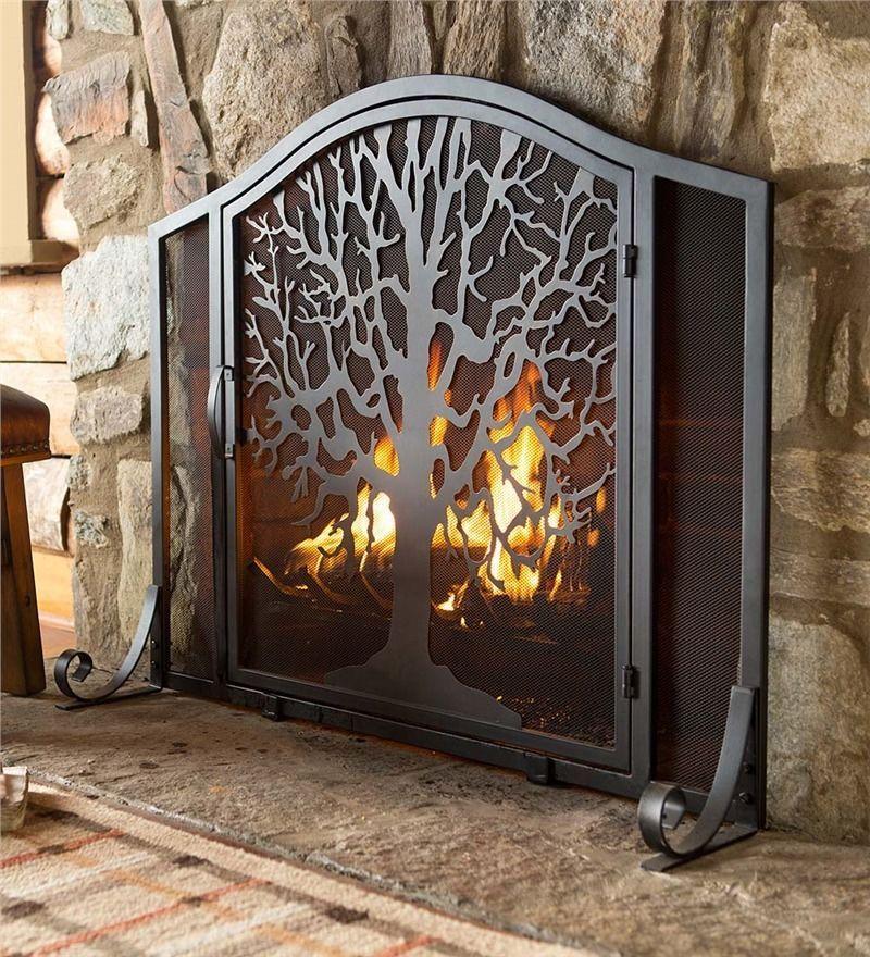 Metal Firescreen Fire Screen Tree Of Life The Burning Bush Black Fireplace Guard Metal Fireplace Fireplace Screens Fireplace Screens With Doors