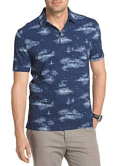 649c2be17e6 Van Heusen Short Sleeve Tropical Print Polo Shirt