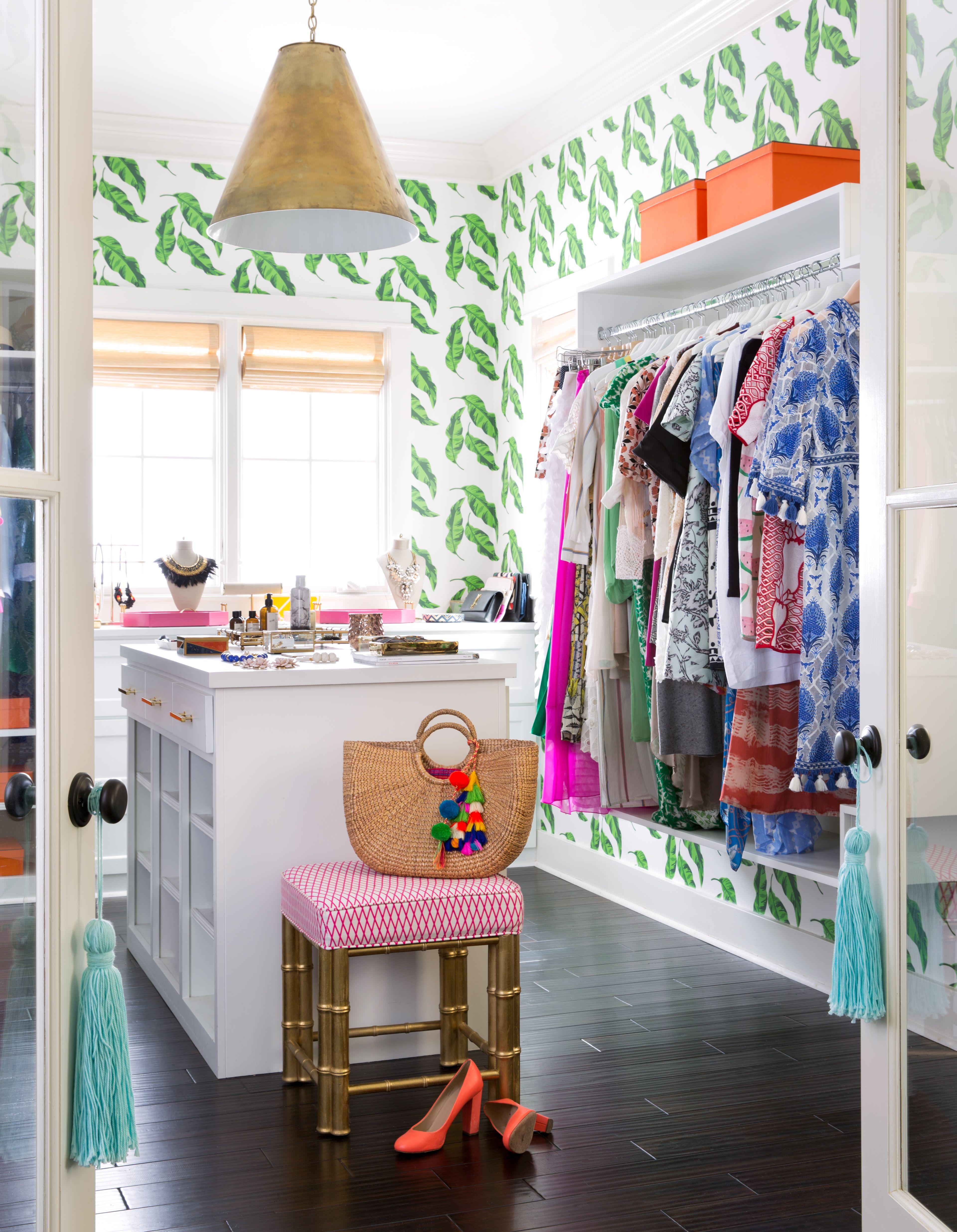 Banana Leaves wallpaper in a master closet. No closet