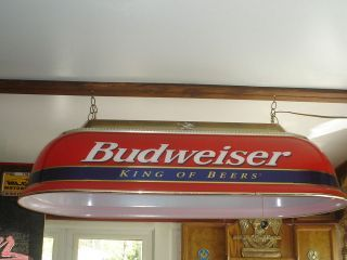 BUDWEISER LARGE RED U0026 BLUE POOL TABLE LIGHT KING OF BEERS WORKS GREAT