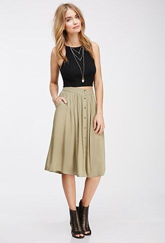 cd99e33bcc I can wear this to school and not break dress code!!! Buttoned Knee-Length  Skirt | FOREVER21 - 2000055882