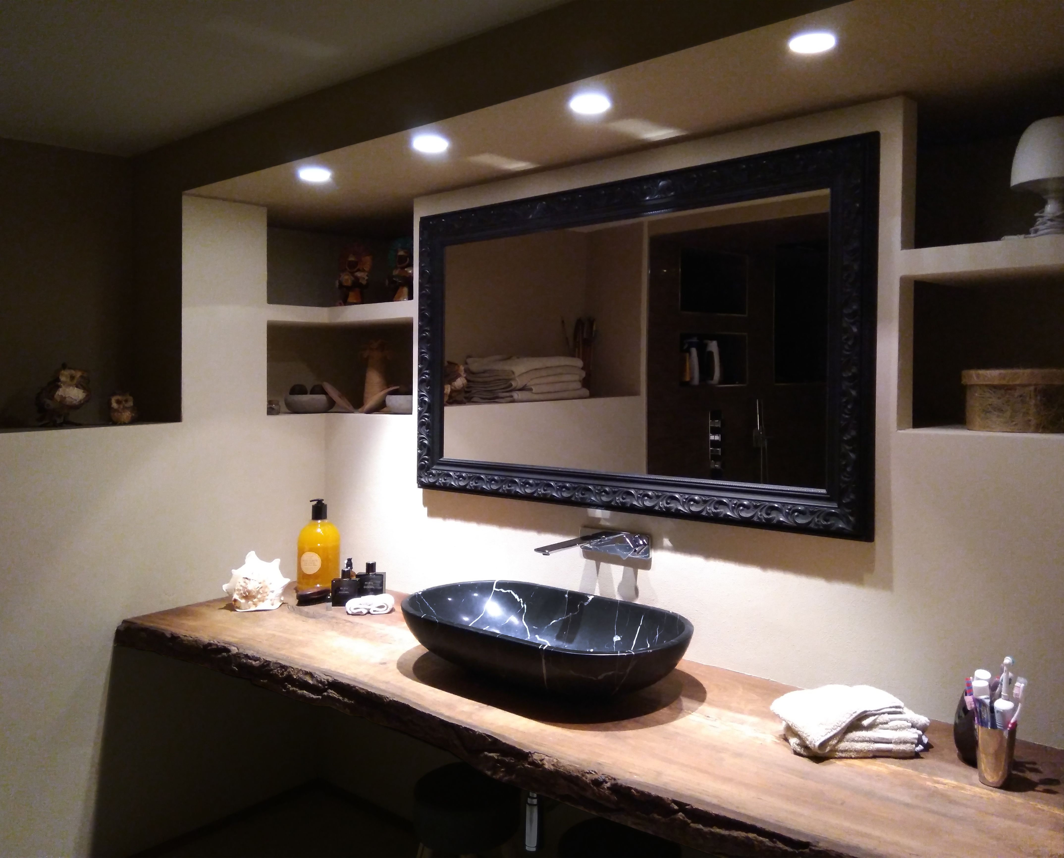 Four Downlight Spot To Lighting The Black Marble Sink And The Rough Wooden Top Plane Lightingand Bathroom Light Marble Sinks Wooden Tops Marble Bathroom