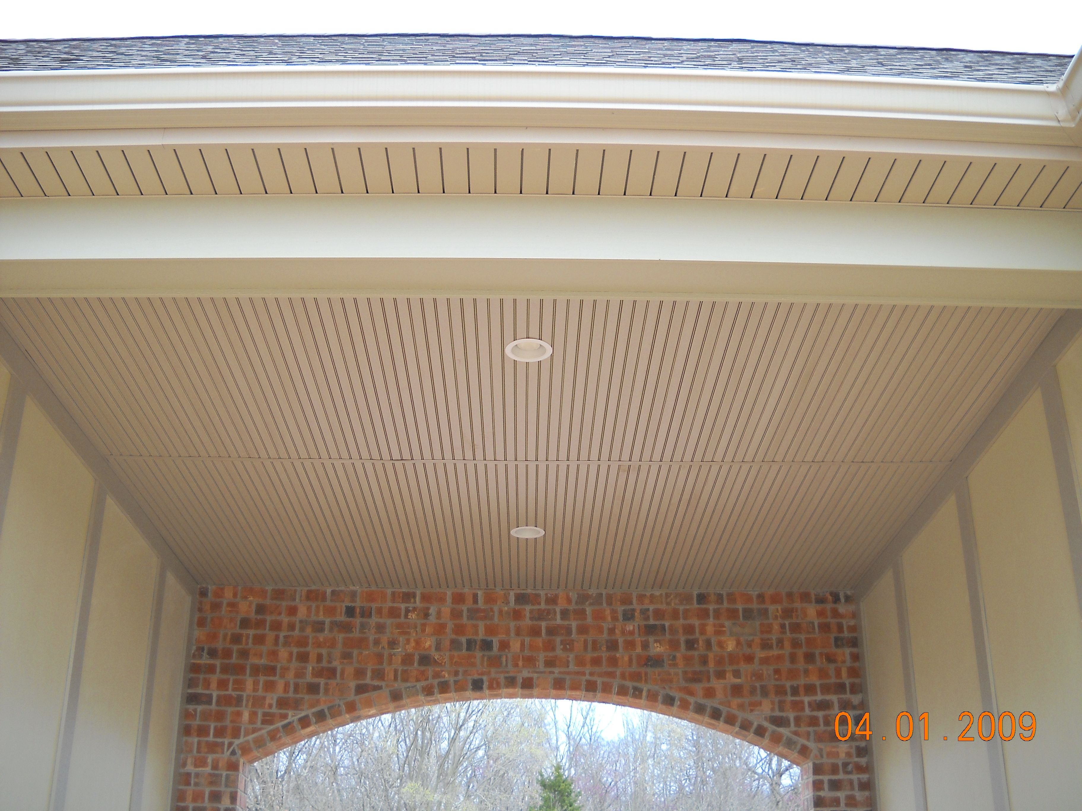 Close Up Of The Custom Porch Ceiling Made Out Of Vinyl
