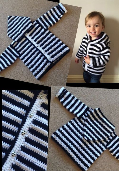 Boys Crochet HoodyThis crochet pattern / tutorial is available for free... Full Post: Sweet Baby Hoodie