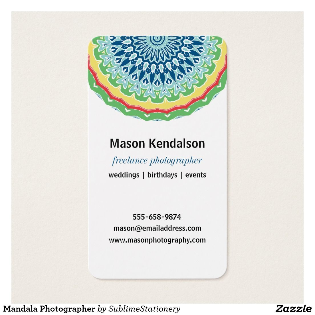 Mandala Photographer Business Card | Photographer business cards and ...