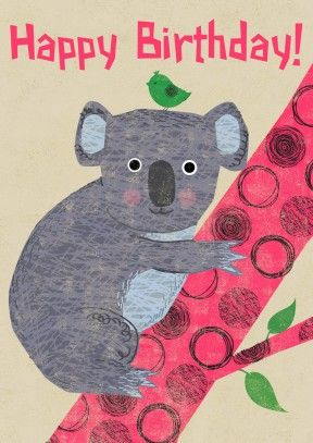 Koala Climbing Children S Birthday Card Ro1005 Kids Birthday Cards Happy Birthday Cards Birthday Cards