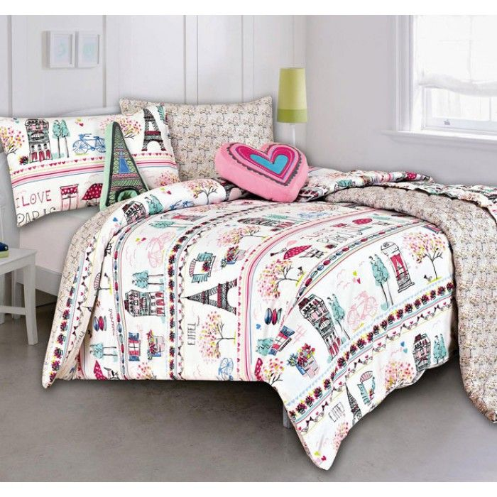 Lovely Paris Queen Bedding Sets | Paris Quilt Cover Set With Coverlet By Kooky