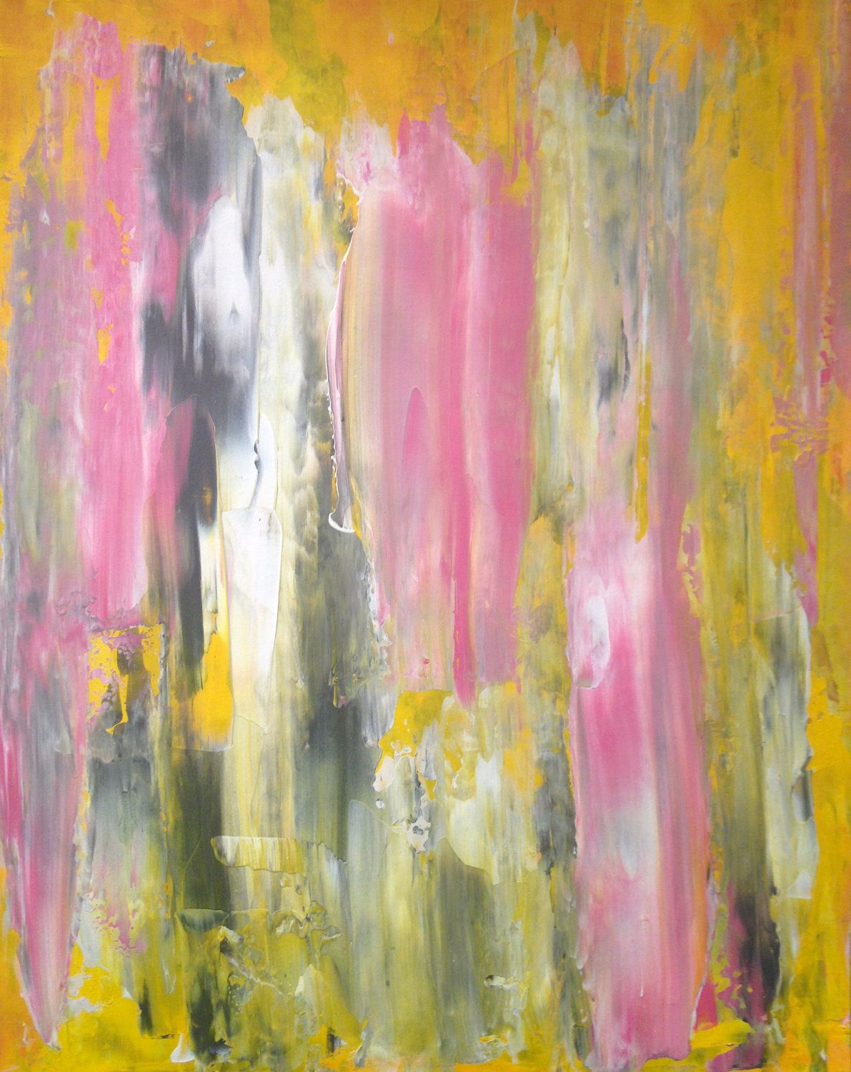 Acrylic Abstract Art Painting Grey Yellow Pink And White - Modern Contemporary Original 11 X