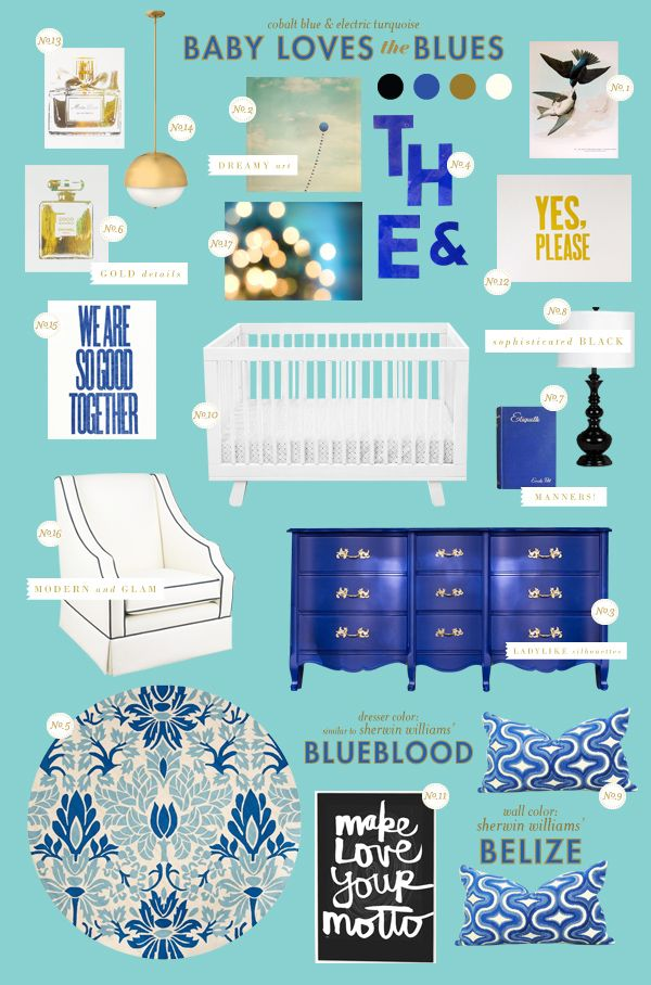 Baby Loves the Blues: cobalt blue baby nursery style board inspiration with Babyletto Hudson 3-in-1 Convertible Crib in White
