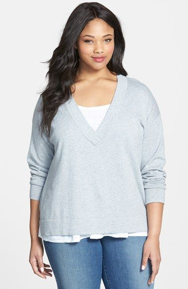 Plus Size Women's Eileen Fisher Deep V-Neck Organic Cotton Top