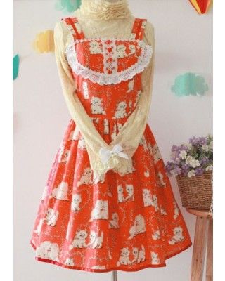 Sweet Fairytale Printed Cotton Lolita Dress-- custom tailoring available