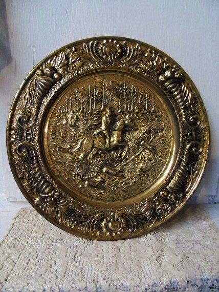 Vintage Large Round Brass Wall Plate Featuring Horse Rider Fox Hunting Equestrian Repousse Brass Plate Fro Fox Hunting Decor Plates On Wall Vintage Large