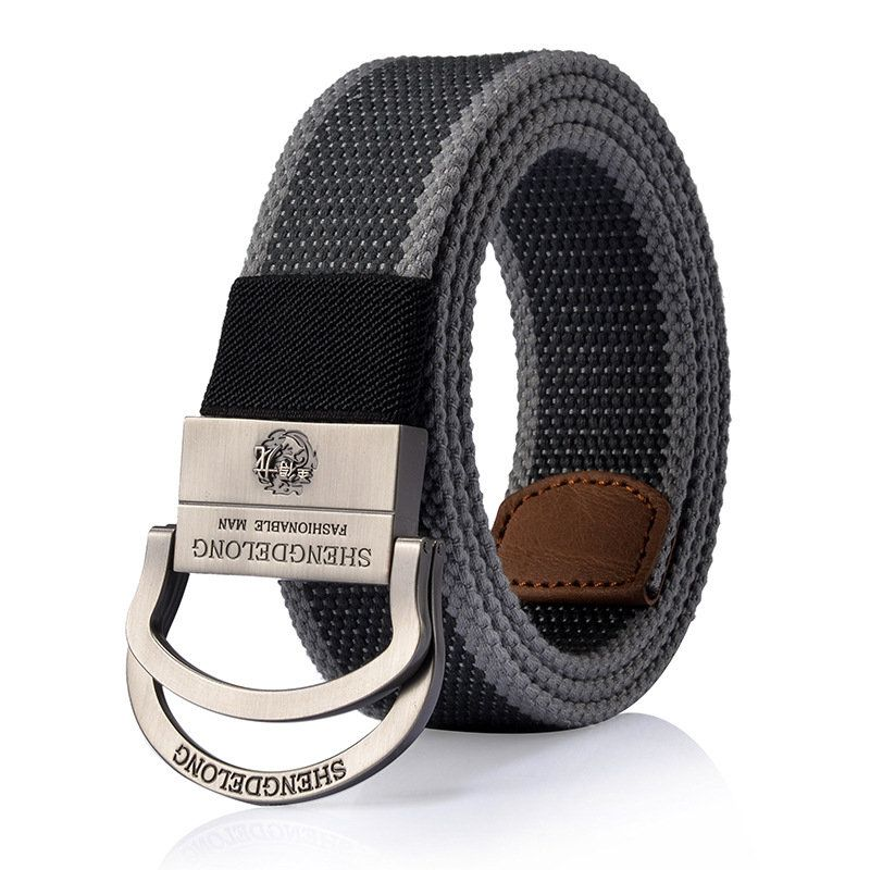 125cm Mens Canvas Double Ring Zinc Alloy Buckle Belt Outdoor