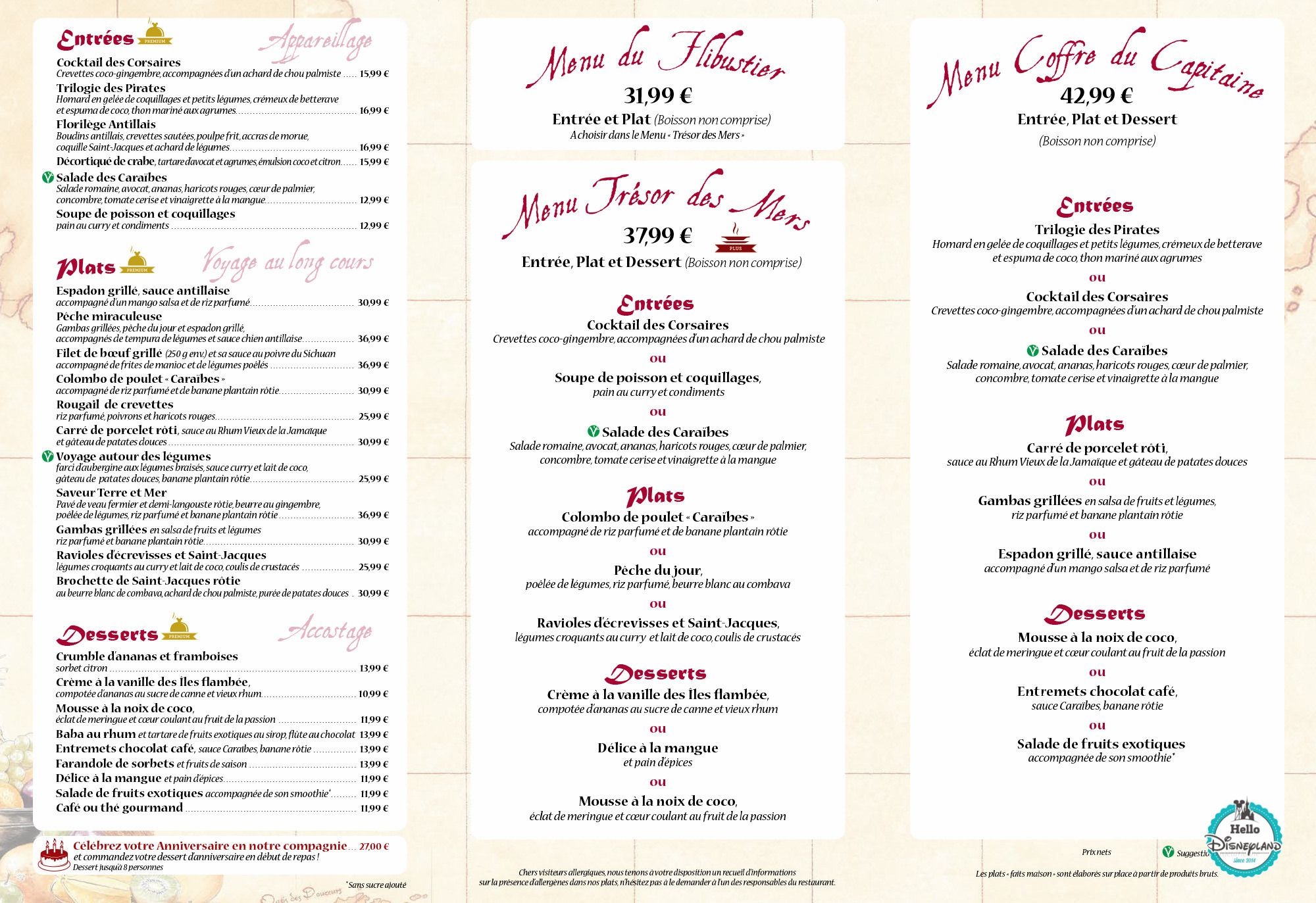 Ticket Restaurant Anglais