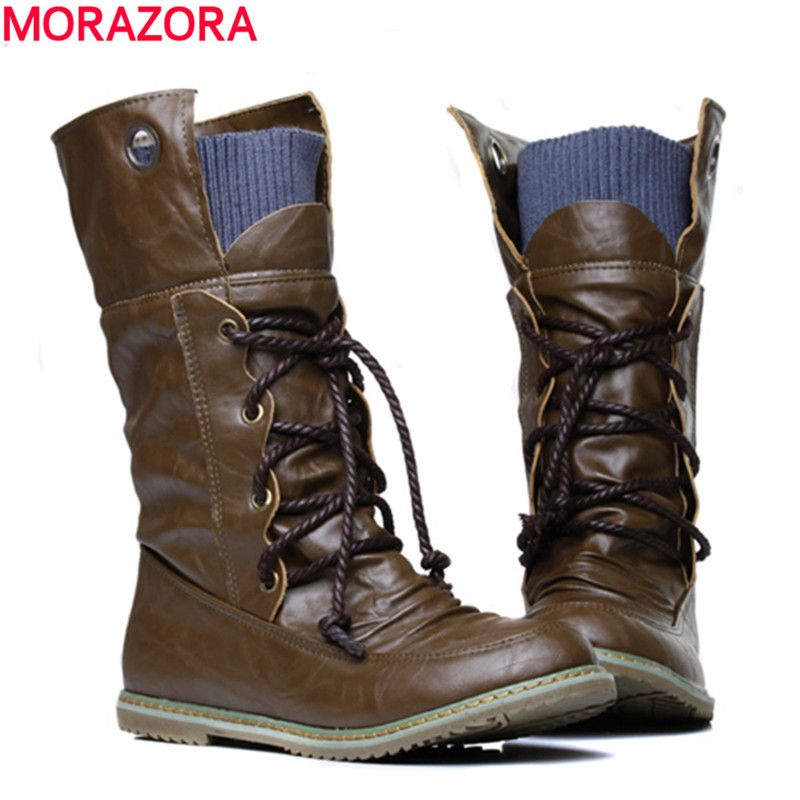 5d17adcac MORAZORA 2017 new fashion motorcycle ankle boots for women,Autumn ...