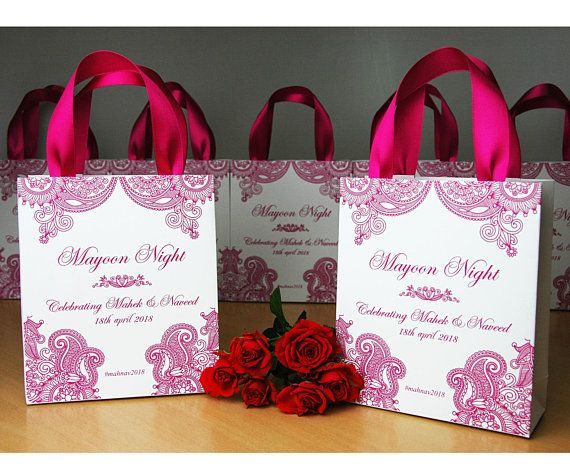 Gifts For Wedding Night: 30 Mehndi Night Gift Bags With Pink Satin Ribbon & Your