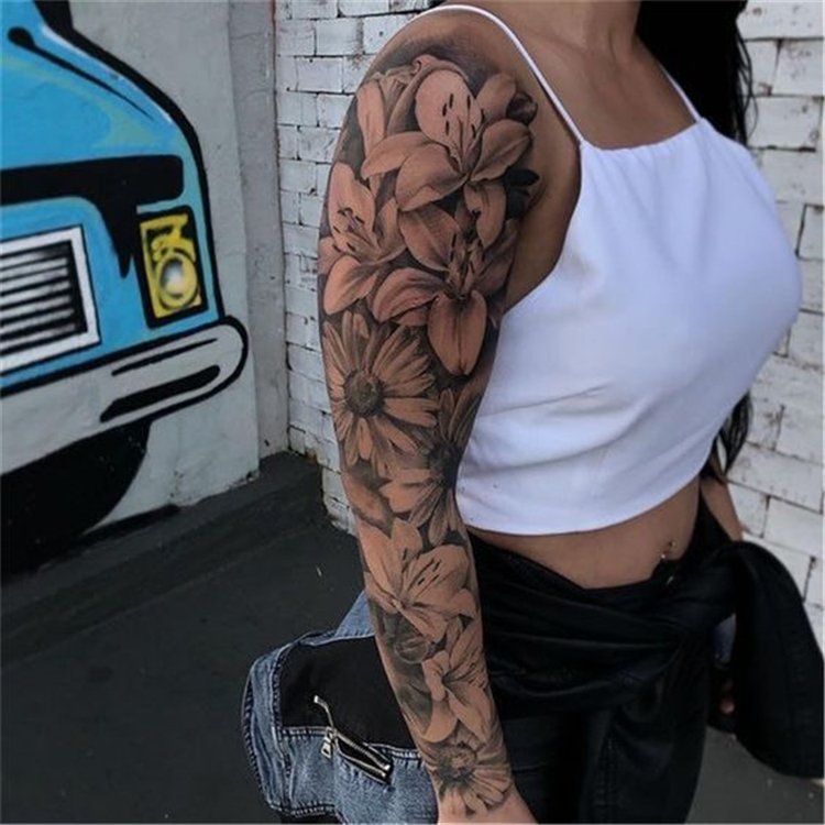 45 Gorgeous And Stunning Sleeve Floral Tattoo To Make You Stylish Women Fashion Lifestyle Blog Shinecoco Com In 2020 Floral Tattoo Sleeve Full Arm Tattoos Best Sleeve Tattoos