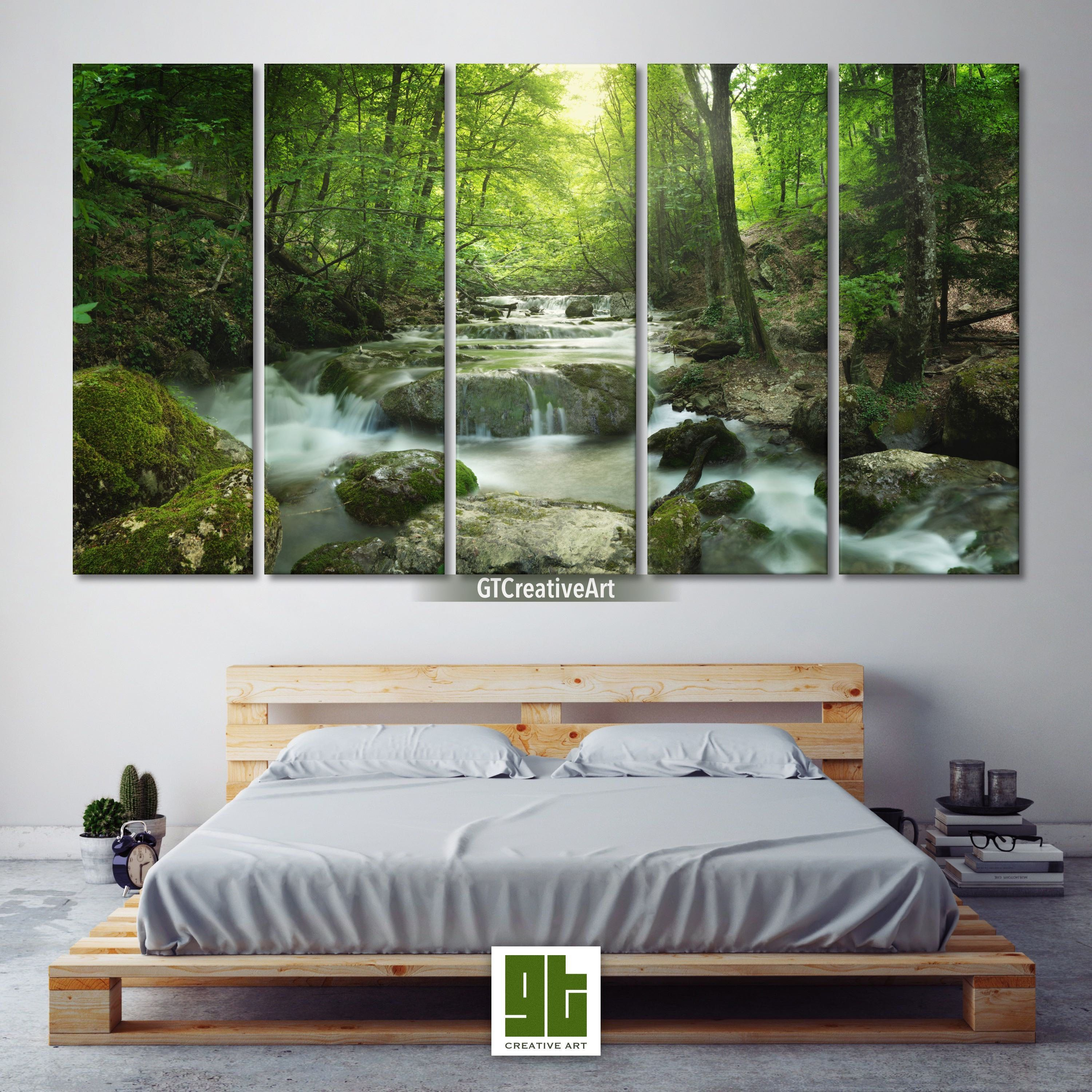 Amazing Forest Lake Multi Panel Framed Canvas Set Tree Woods Home Wall Art Green Nature Print Art Decor Waterfall Sc Home Wall Art Forest Lake Canvas Frame