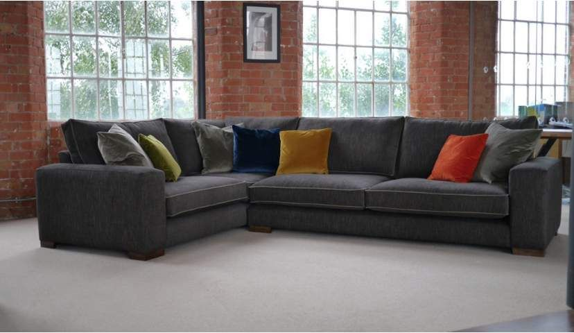 Ashdown Large Corner Sofa In Habitat Sable With Mystic Scatter Cushions And Contrast Piping