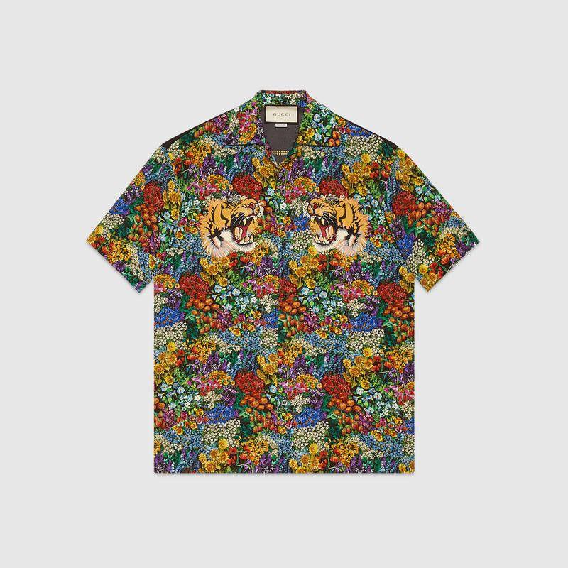 Floral print silk bowling shirt