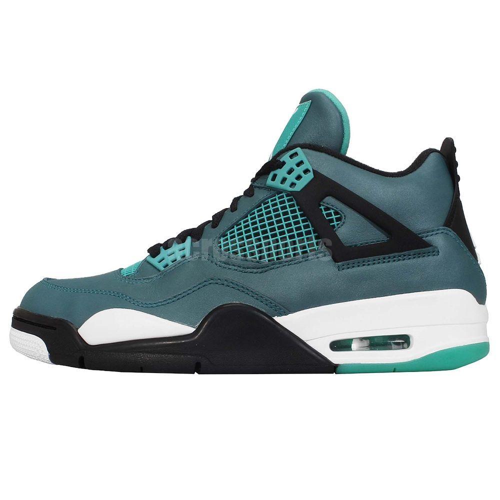 Nike Air Jordan 4 IV Retro 30th BG GS Teal Black Girls Youth Womens Shoes AJ4