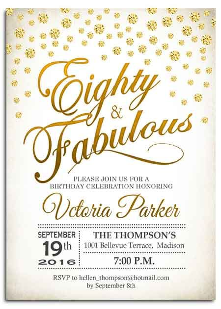 the best 80th birthday invitations by a professional party planner