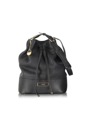 #DKNY Black Leather #Bucket #Bag