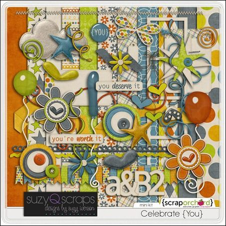 New mini kit from SuzyQ Scraps celebrating YOU — because you deserve it!