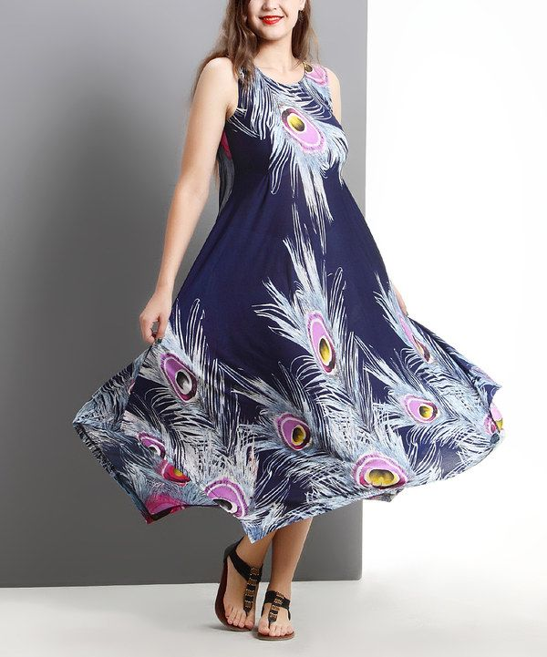 Look at this Navy Peacock Sleeveless Handkerchief Maxi Dress - Plus on #zulily today!