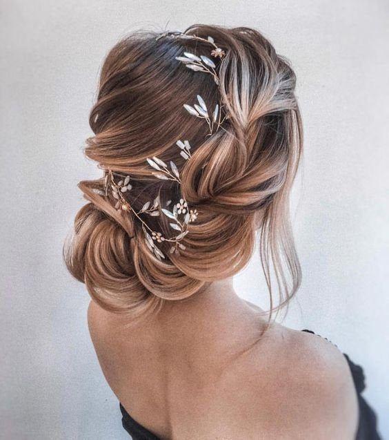 Blue opal bridal hair Gold bridal headpiece Bridal