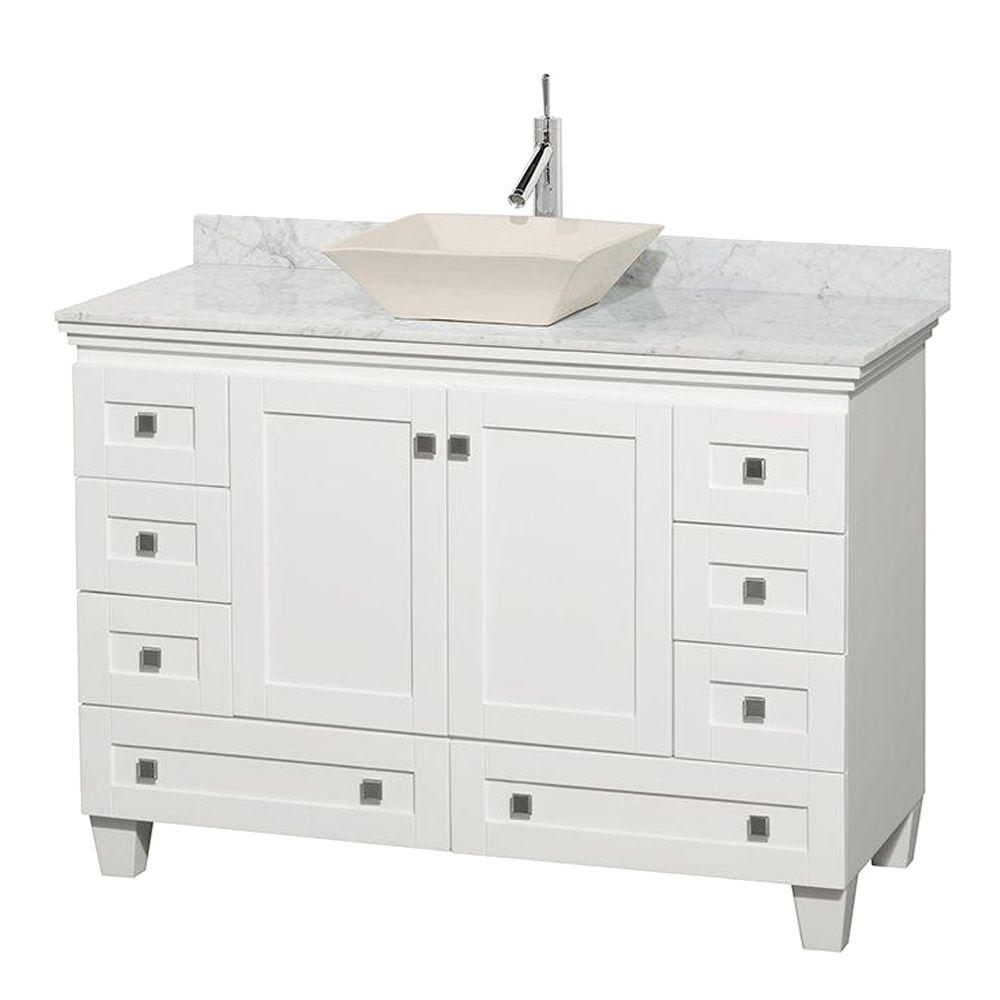 Wyndham Collection Acclaim 48 In W Vanity In White With Marble Vanity Top In Carrara White And Bone Sink Wcv800048swhcmd2bmxx The Home Depot Marble Vanity Tops White Vanity Bathroom Single Sink